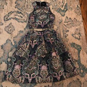 Express damask print crop top and skirt set